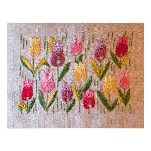 Bordado del vintage de los tulipanes tarjetas informativas