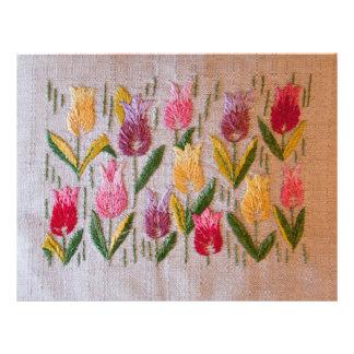 Bordado del vintage de los tulipanes folleto 21,6 x 28 cm