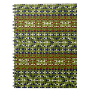 Bordado geométrico elegante de la teja libros de apuntes