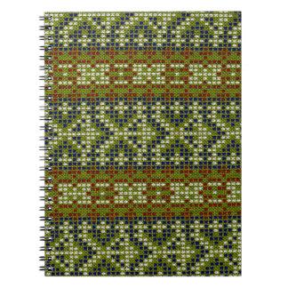 Bordado geométrico elegante de la teja libros de apuntes con espiral