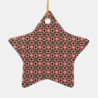 Bordado retro adorno navideño de cerámica en forma de estrella