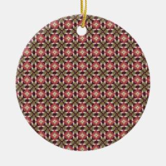 Bordado retro adorno navideño redondo de cerámica