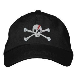 Bordado rojo del cráneo de la bandera pirata del r gorra de béisbol