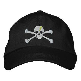 Bordado verde del cráneo de la bandera pirata del gorra de beisbol bordada