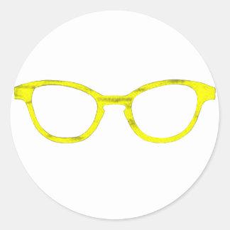 Borde amarillo de las gafas de sol los regalos de etiquetas redondas