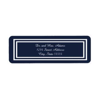Borde azul marino doble - etiqueta de dirección