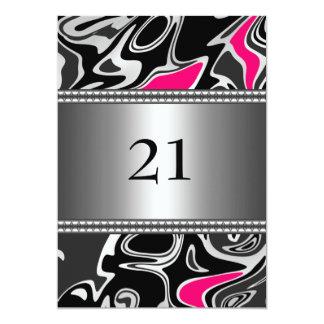 Borde de plata rosado blanco negro abstracto 21ro invitación 12,7 x 17,8 cm
