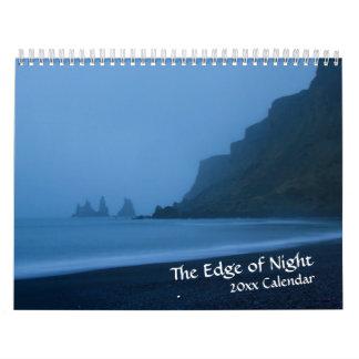 Borde del calendario del crepúsculo de la noche