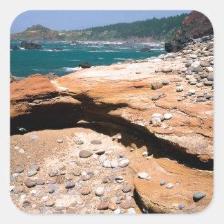 Borde del camino de la nutria de la erosión de la pegatina cuadrada