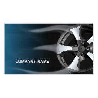 Borde del neumático con la tarjeta de visita azul