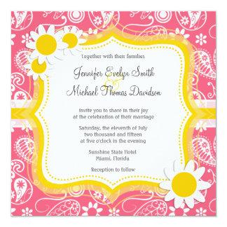 Borde Paisley rosada; Margarita linda Invitación 13,3 Cm X 13,3cm