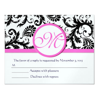 Borde rosado blanco y negro RSVP del damasco Invitación 10,8 X 13,9 Cm