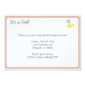 Borde rosado de la fiesta de bienvenida al bebé invitación 11,4 x 15,8 cm