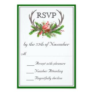 Borde verde de las astas rústicas que casa RSVP Invitación 8,9 X 12,7 Cm