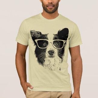 Border Collie glasses hipster Dog Camiseta