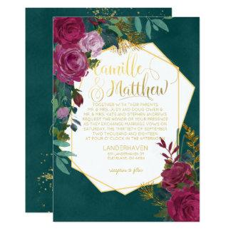 Borgoña e invitación esmeralda del boda