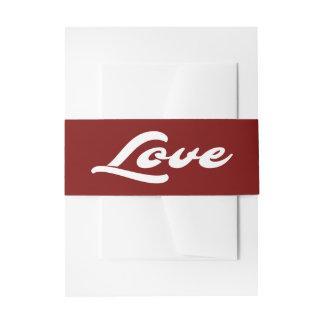 Borgoña roja y banquete de boda blanco del amor cintas para invitaciones