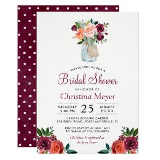 Borgoña se ruboriza ducha nupcial floral rosada invitación 12,7 x 17,8 cm