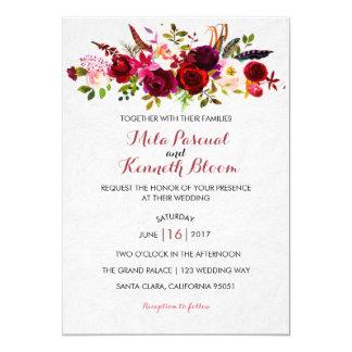 Borgoña se ruboriza invitación floral del boda