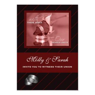 Borgoña y boda gay rayado del negro invitación 12,7 x 17,8 cm