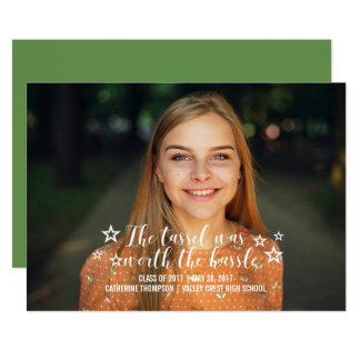 Borla de marfil digno de la graduación de la foto invitación 12,7 x 17,8 cm