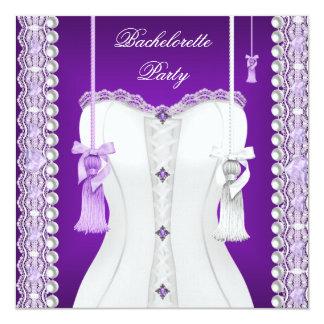 Borlas púrpuras del corsé de la lila del fiesta de invitación personalizada