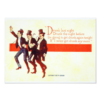 Borracho anoche… Vintage 1907 del fiesta Invitación 12,7 X 17,8 Cm