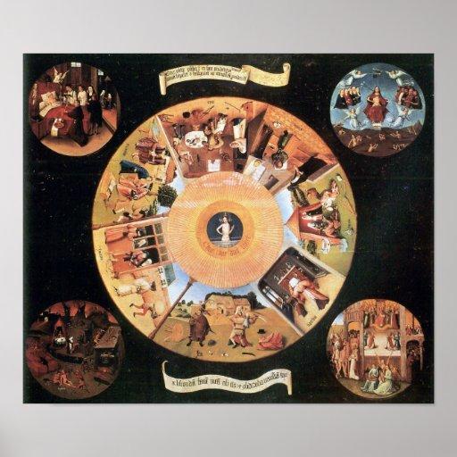 Bosch-Tabla con escenas de los siete pecados morta Impresiones