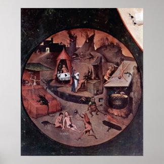 Bosch-Tabla con escenas de los siete pecados morta Póster