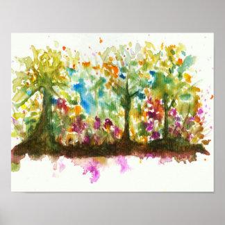 Bosque abstracto de los árboles del arte del póster
