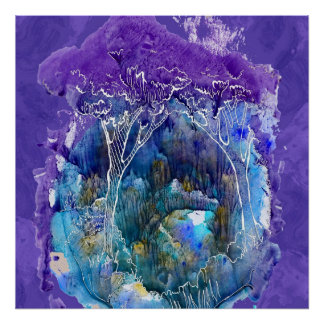 Bosque azul hermoso. Ejemplo de la acuarela Póster
