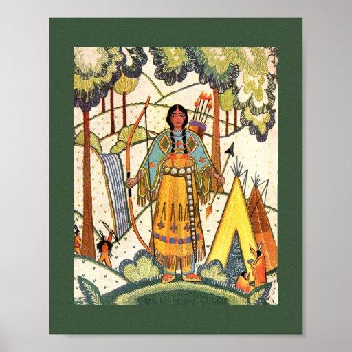 Bosque del pueblo de la mujer del nativo americano impresiones
