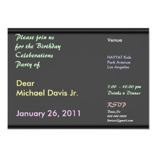 Bosque negro del chocolate con el texto de la invitación 12,7 x 17,8 cm