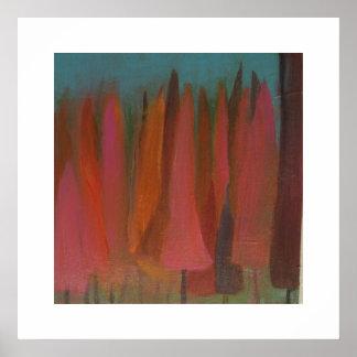 Bosque rosado póster