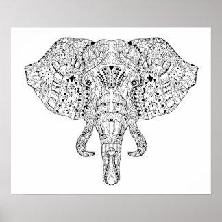 Bosquejo 2 del Doodle de la cabeza del elefante Póster