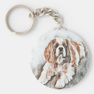 Bosquejo arrogante adorable del perro de aguas de llavero redondo tipo chapa
