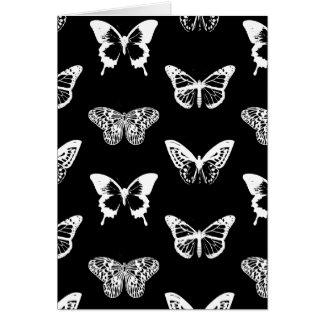 Bosquejo, blanco y negro de la mariposa felicitación