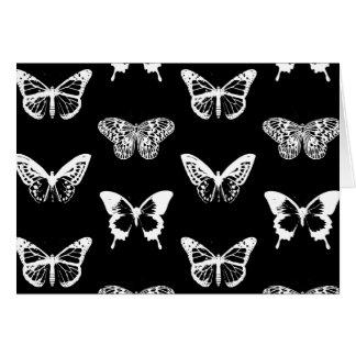 Bosquejo, blanco y negro de la mariposa tarjetas