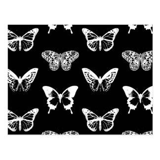 Bosquejo, blanco y negro de la mariposa tarjetas postales