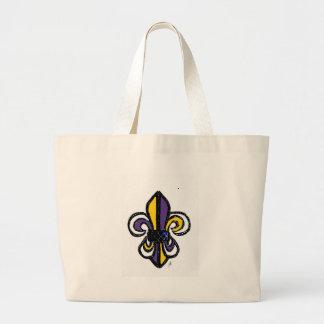 Bosquejo de la flor de lis en oro de la púrpura de bolsas de mano
