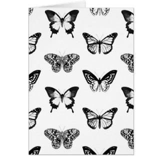 Bosquejo de la mariposa, blanco y negro tarjeta pequeña