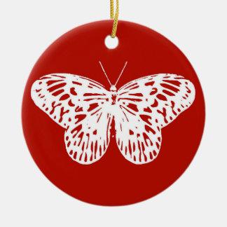Bosquejo de la mariposa, de color rojo oscuro y adorno redondo de cerámica
