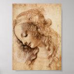 Bosquejo de Leonardo de la cabeza de una mujer Posters