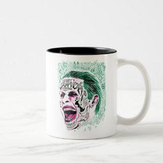 Bosquejo de risa de la cabeza del comodín del taza de café de dos colores