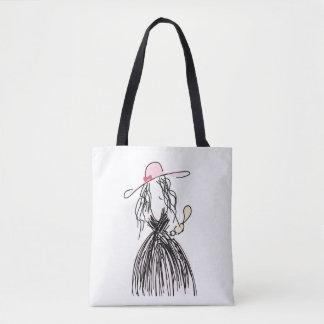 Bosquejo del chica parisiense francés con el gorra bolso de tela