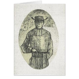 Bosquejo del lápiz del vintage, sacerdote francés tarjeta de felicitación