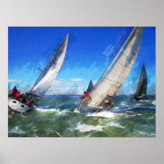 Bosquejo del marcador de competir con los veleros póster