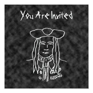 Bosquejo del pirata. Blanco y negro. Invitación 13,3 Cm X 13,3cm