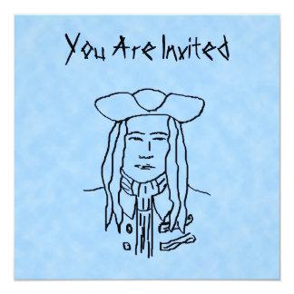 Bosquejo del pirata invitación 13,3 cm x 13,3cm