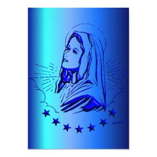 Bosquejo del Virgen María bendecido en azul Invitación 12,7 X 17,8 Cm